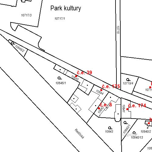 Katastrální mapa Stavební objekt Severní Předměstí 39, Plzeň