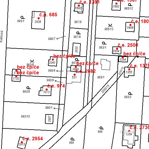 Katastrální mapa Stavební objekt Litice 2682, Plzeň