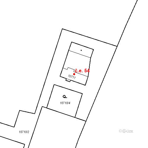 Katastrální mapa Stavební objekt Severní Předměstí 54, Plzeň