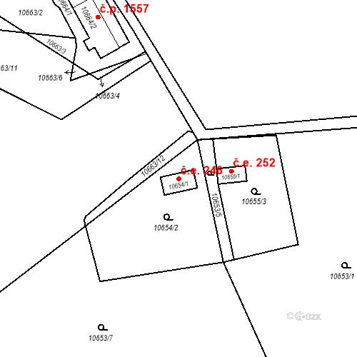 Katastrální mapa Stavební objekt Severní Předměstí 246, Plzeň