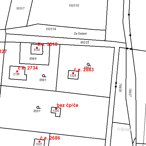 Katastrální mapa Stavební objekt Litice 2683, Plzeň
