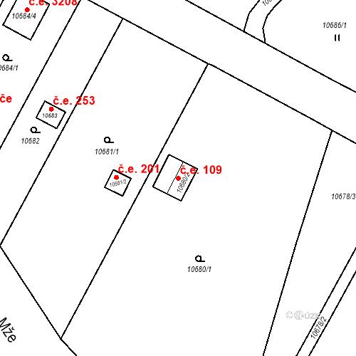 Katastrální mapa Stavební objekt Severní Předměstí 109, Plzeň