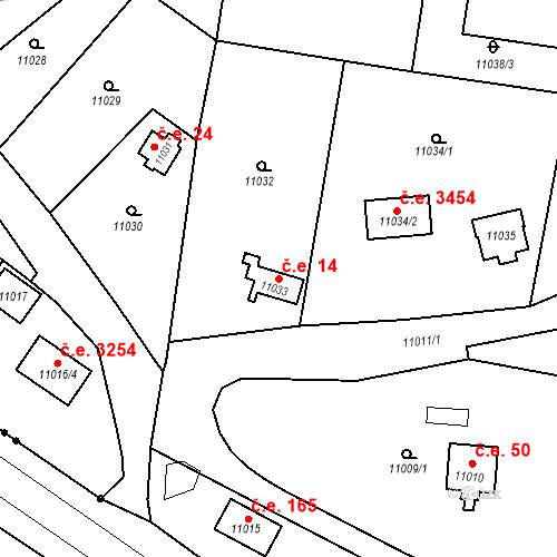 Katastrální mapa Stavební objekt Severní Předměstí 14, Plzeň