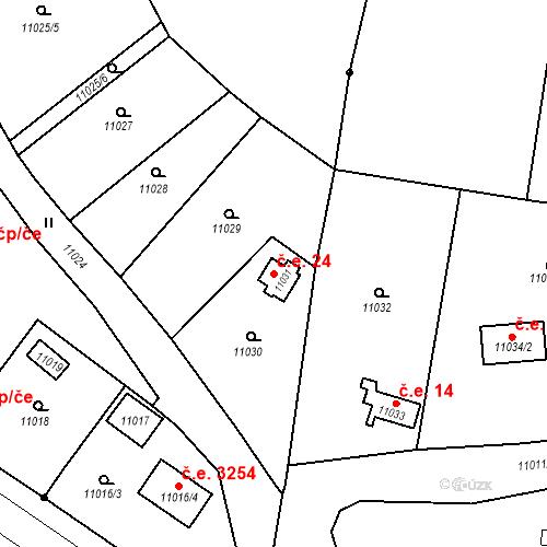 Katastrální mapa Stavební objekt Severní Předměstí 24, Plzeň