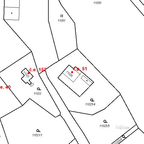 Katastrální mapa Stavební objekt Severní Předměstí 51, Plzeň