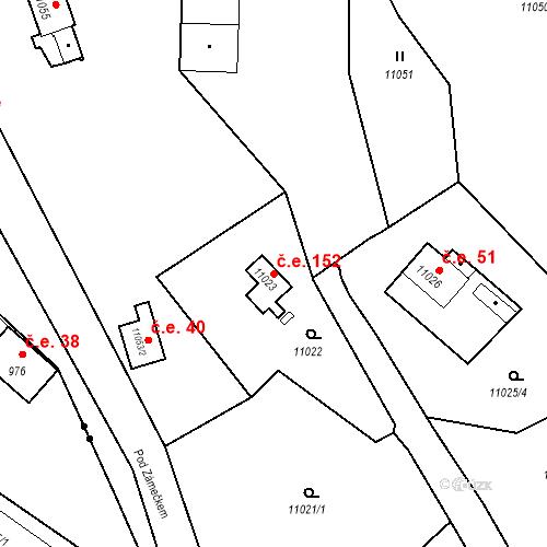 Katastrální mapa Stavební objekt Severní Předměstí 152, Plzeň