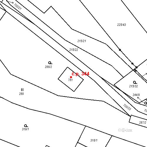 Katastrální mapa Stavební objekt Trnová 344, Trnová