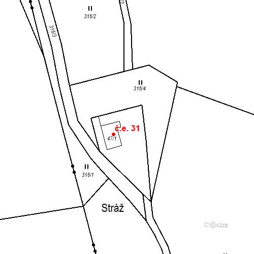 Katastrální mapa Stavební objekt Dolejší Krušec 31, Hartmanice