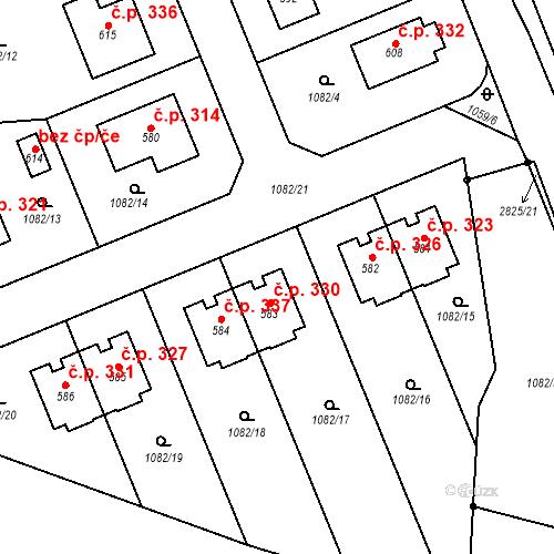 Katastrální mapa Stavební objekt Ledce 330, Ledce