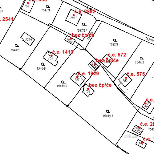 Katastrální mapa Stavební objekt Litice 1929, Plzeň