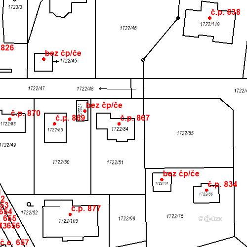 Katastrální mapa Stavební objekt Miřetice u Klášterce nad Ohří 867, Klášterec nad Ohří