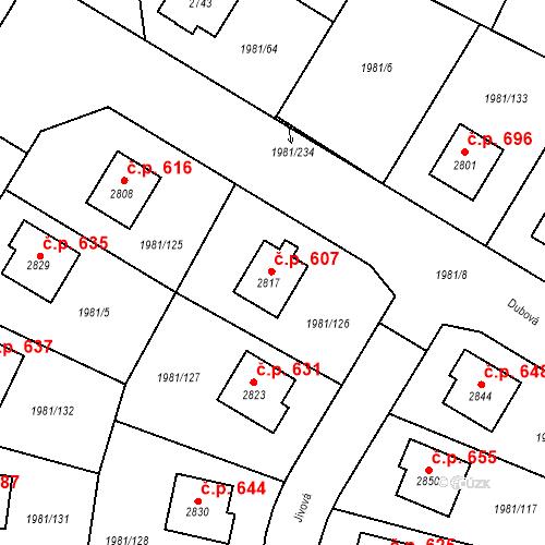 Katastrální mapa Stavební objekt Litice 607, Plzeň