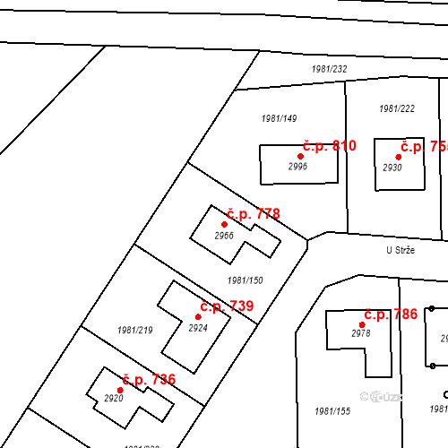 Katastrální mapa Stavební objekt Litice 778, Plzeň