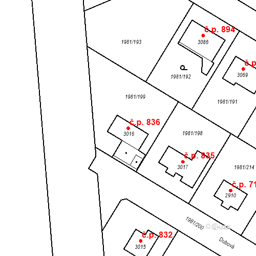 Katastrální mapa Stavební objekt Litice 836, Plzeň