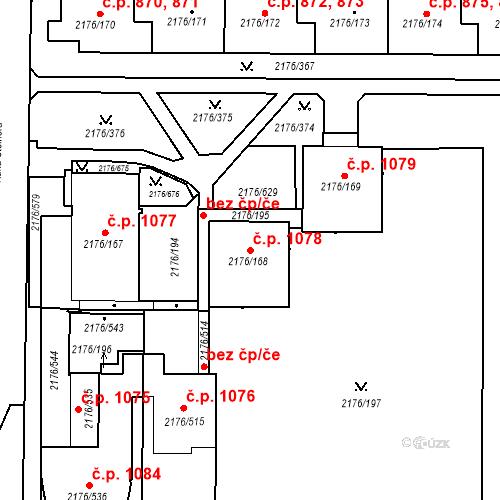 Katastrální mapa Stavební objekt Skvrňany 1078, Plzeň
