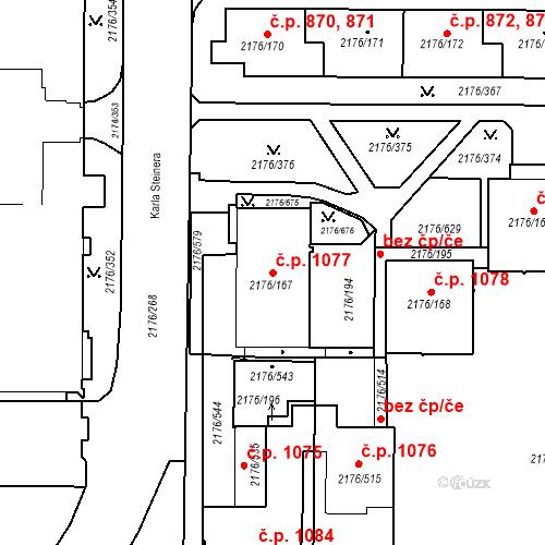 Katastrální mapa Stavební objekt Skvrňany 1077, Plzeň