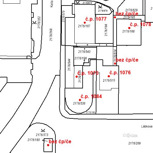 Katastrální mapa Stavební objekt Skvrňany 1075, Plzeň