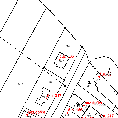 Katastrální mapa Stavební objekt Radčice 336, Plzeň
