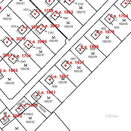Katastrální mapa Stavební objekt Litice 1927, Plzeň