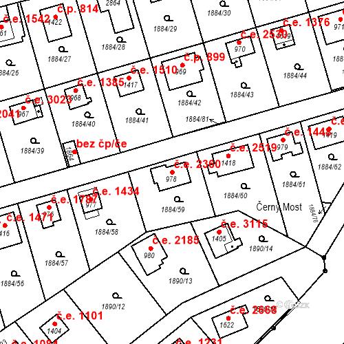 Katastrální mapa Stavební objekt Litice 2360, Plzeň
