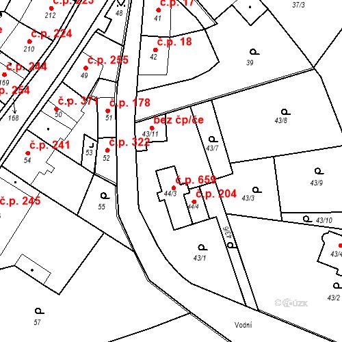 Katastrální mapa Stavební objekt Klášterec nad Ohří 659, Klášterec nad Ohří