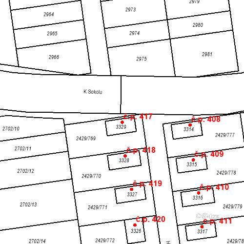 Katastrální mapa Stavební objekt Valcha 417, Plzeň
