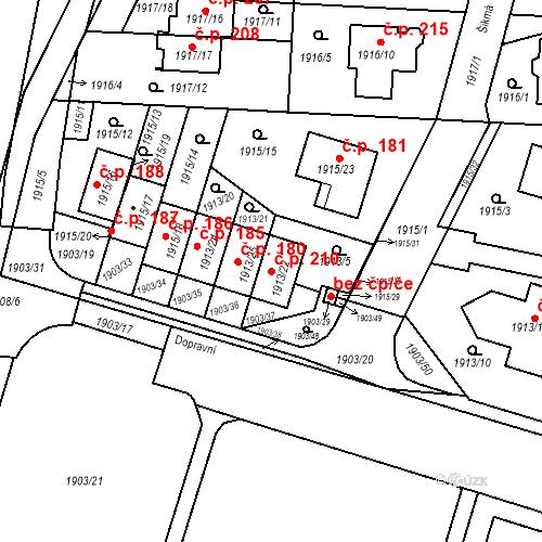 Katastrální mapa Stavební objekt Nová Hospoda 210, Plzeň