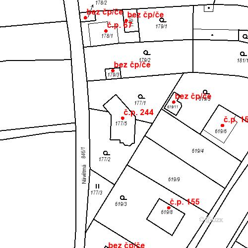 Katastrální mapa Stavební objekt Lhota 244, Plzeň