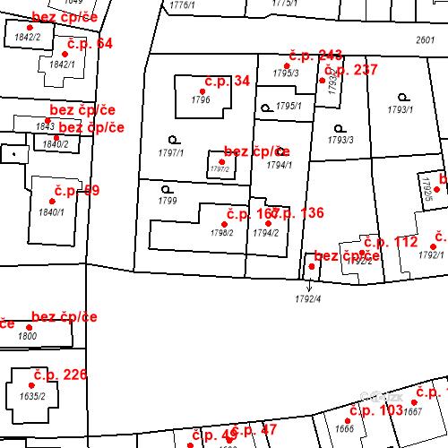 Katastrální mapa Stavební objekt Nová Hospoda 167, Plzeň