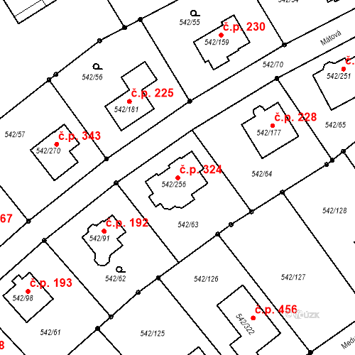 Katastrální mapa Stavební objekt Lhota 324, Plzeň