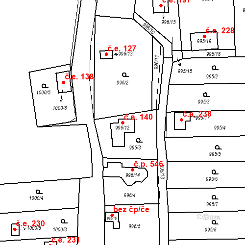 Katastrální mapa Stavební objekt Křimice 140, Plzeň