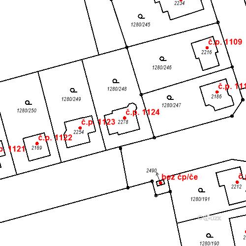 Katastrální mapa Stavební objekt Dobřany 1124, Dobřany