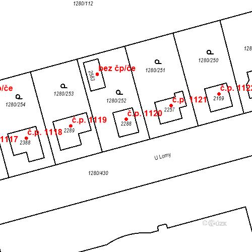 Katastrální mapa Stavební objekt Dobřany 1120, Dobřany