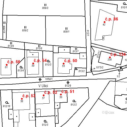 Katastrální mapa Stavební objekt Mochtín 50, Mochtín