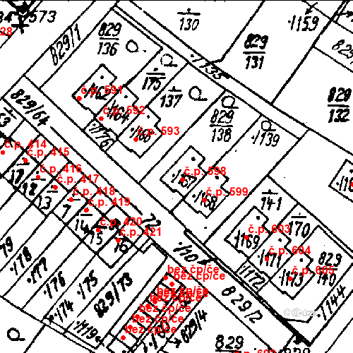Katastrální mapa Stavební objekt Město Touškov 598, Město Touškov