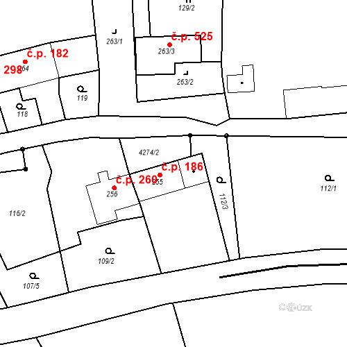 Katastrální mapa Stavební objekt Žlutice 186, Žlutice