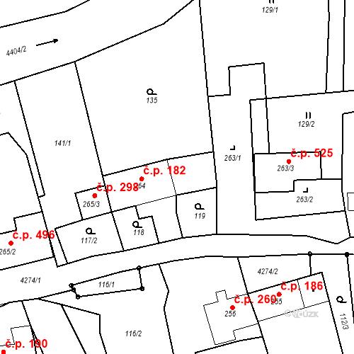 Katastrální mapa Stavební objekt Žlutice 182, Žlutice