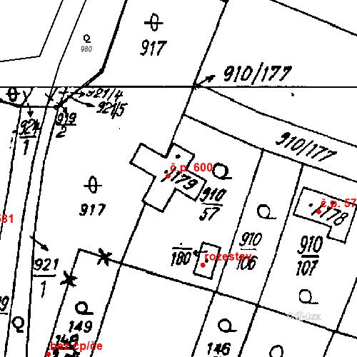 Katastrální mapa Stavební objekt Město Touškov 600, Město Touškov
