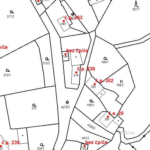 Katastrální mapa Stavební objekt Žlutice 236, Žlutice