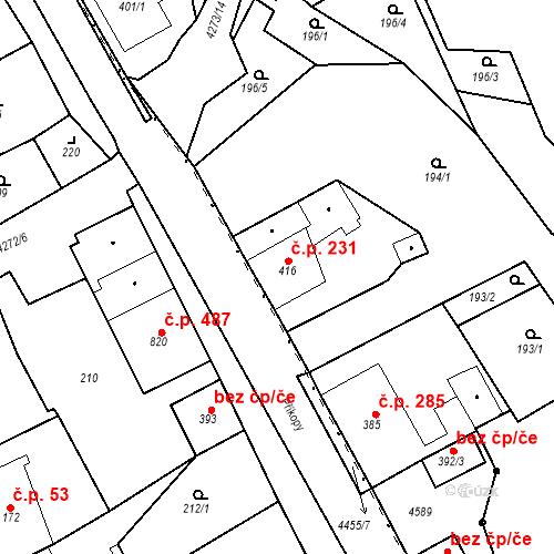 Katastrální mapa Stavební objekt Žlutice 231, Žlutice