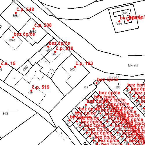 Katastrální mapa Stavební objekt Žlutice 193, Žlutice