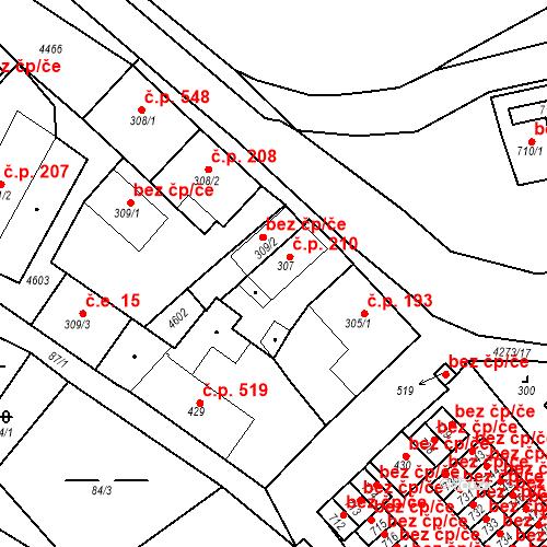 Katastrální mapa Stavební objekt Žlutice 210, Žlutice