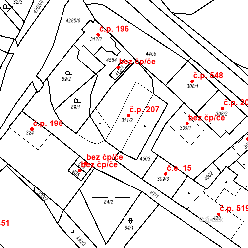 Katastrální mapa Stavební objekt Žlutice 207, Žlutice