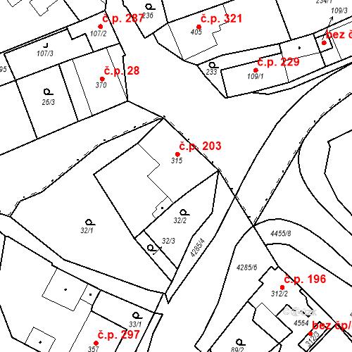 Katastrální mapa Stavební objekt Žlutice 203, Žlutice