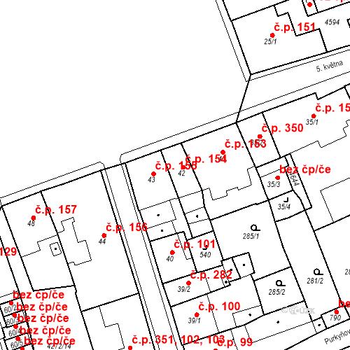 Katastrální mapa Stavební objekt Žlutice 154, Žlutice