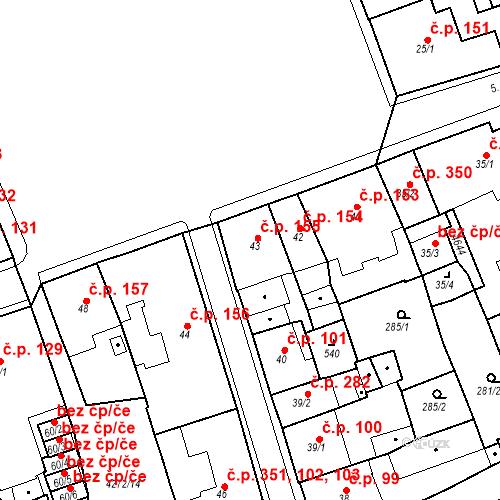 Katastrální mapa Stavební objekt Žlutice 155, Žlutice