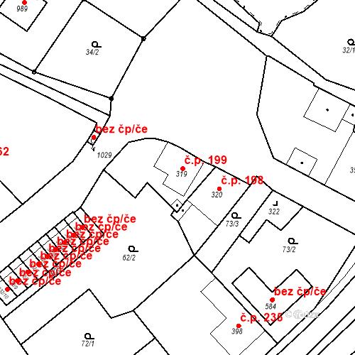 Katastrální mapa Stavební objekt Žlutice 199, Žlutice