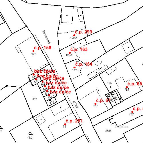 Katastrální mapa Stavební objekt Žlutice 164, Žlutice