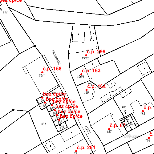 Katastrální mapa Stavební objekt Žlutice 163, Žlutice