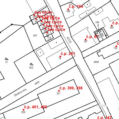 Katastrální mapa Stavební objekt Žlutice 261, Žlutice